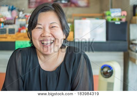 Asia Women Laughing Smile In Coffee Shop