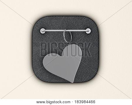Heart symbol keyring on wall. 3d illustration.