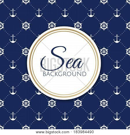 Vector Sea And Nautical Background. Vintage Old Marine Print Abstract Textile With Steering Wheel, A