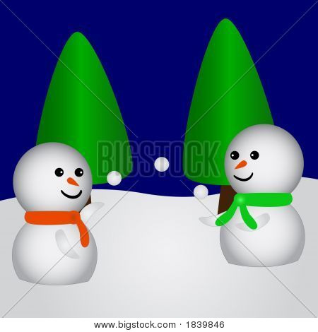 Two Snowfriends Playing With Snowballs