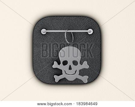 Skull symbol keyring on wall. 3d illustration.