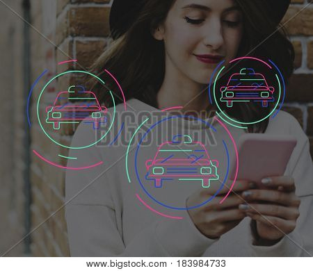 Woman Using Smart Phone Connection with Car Icon