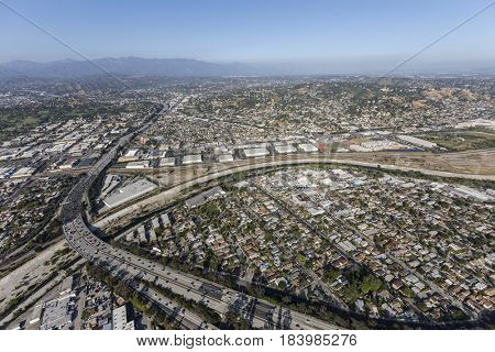 Aerial view of the Los Angeles River and the Glendale Freeway in Southern California.