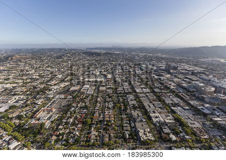 Aerial view of Glendale with Los Angeles California in background.