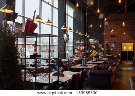 MOSCOW - JAN 23, 2017: Glasses in new restaurant Illskill, New Illskill complex.