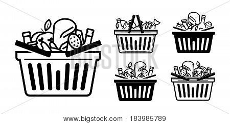Grocery store icon. Shopping cart or basket full with food and drinks. Vector illustration isolated on white background
