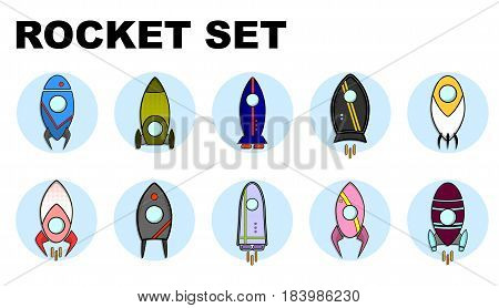 Vector rocket ship in a flat style. Illustration with flying rocket.Space travel to the moon. Project start up and development process. Innovation product, creative idea.Management.