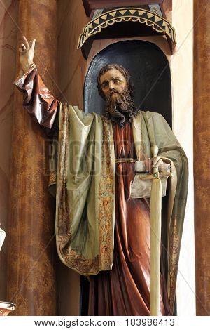 MARTINSKA VES, CROATIA - JUNE 03: Statue of Saint Paul on the altar in Parish Church of Saint Martin in Martinska Ves, Croatia on June 03, 2011.