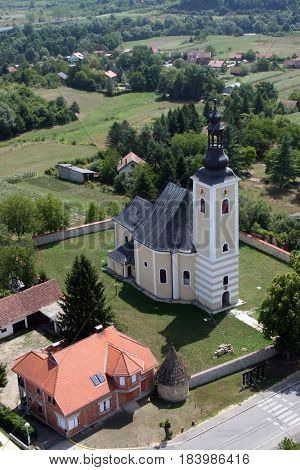 POKUPSKO, CROATIA - JULY 10: Parish Church of Assumption of the Virgin Mary in Pokupsko, Croatia on July 10, 2007.