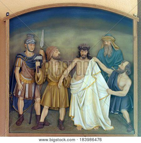 BUDASEVO, CROATIA - NOVEMBER 05: 10th Stations of the Cross, Jesus is stripped of His garments, Church of the Blessed Aloysius Stepinac in Budasevo, Croatia on November 05, 2007