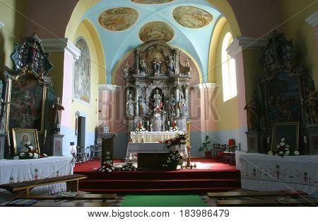 PISAROVINSKA JAMNICA, CROATIA - AUGUST 21: Parish Church of Saint Martin in Pisarovinska Jamnica, Croatia on August 21, 2011.
