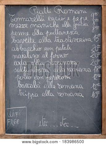 ROME, ITALY - SEPTEMBER 01: Menu of a restaurant in Rome, Italy on September 01, 2016.
