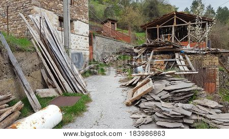 Ancient wood and Stone house in Bulgaria in ruins