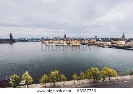 Stockholm, Sweden - October, 22th, 2016. Stockholm panorama with Gamla Stan and Centralbron bridge view from Monteliusvagen in Sodermalm island. Stockholm skyline.