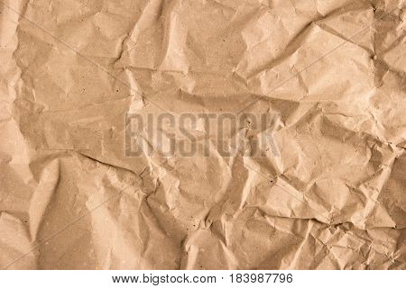 Crumpled paper texture. Recycled wrinkle paper background.