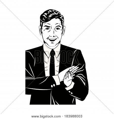 pop art man suit applauding hands black and  vector illustration