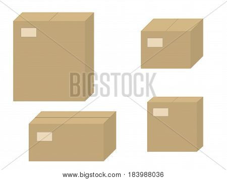 Vector illustration set of brown cardboard boxes. Isolated on white background. Closed carton box.