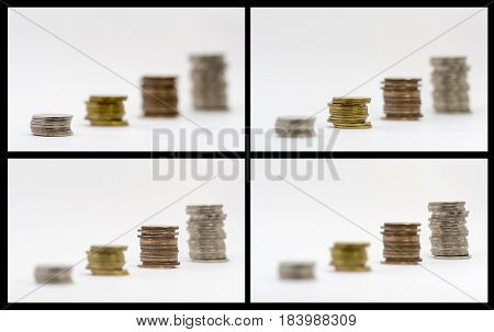 Four stack coins and four step focus show the money saving concept financial concept business growth concept Investment concept. Four photos in one photo.