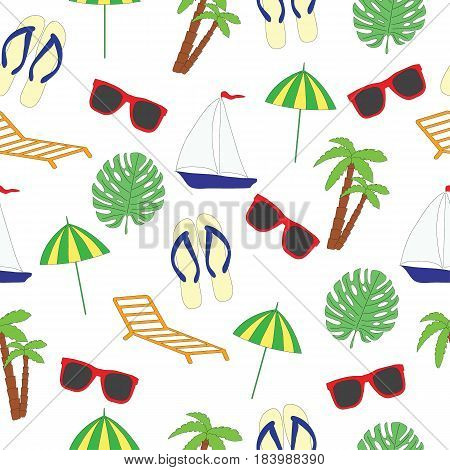 Seamless pattern on a summer subject. A vector picture with the ship, sunglasses, slaps, a chaise lounge, a sunshade, footwear, palm trees on a white background.