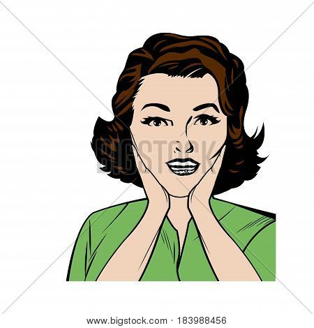 portrait woman pop art surprised expression black and  vector illustration