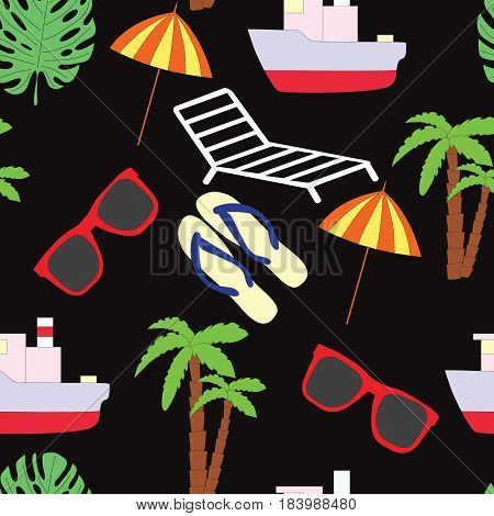 Seamless pattern on a summer subject. A vector picture with the ship, sunglasses, slaps, a chaise lounge, a sunshade, footwear, palm trees on a black background.