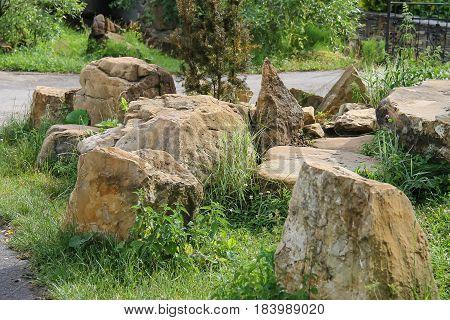 Decorative big stones in the city park