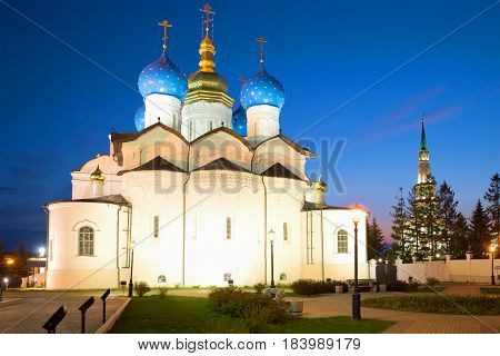 Ancient Annunciation cathedral in the Kazan kremlin on May night. Kazan. Russia