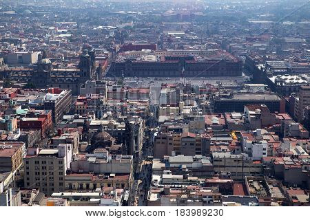Zocalo area of Mexico City and Plaza Constitucion aerial view