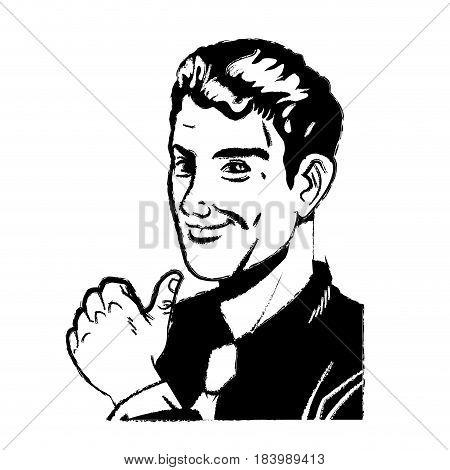 pop art man thumb up like pose sketch vector illustration