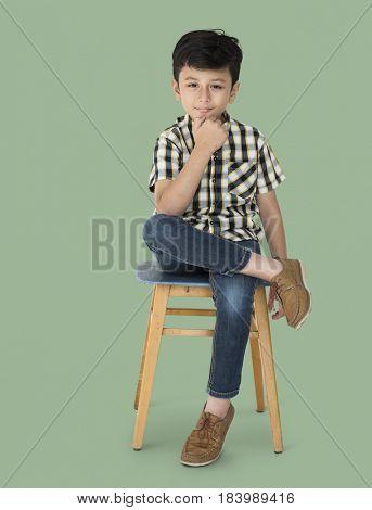 Little Boy Sitting Hand Gesture