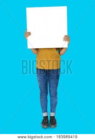 Covered Face Girl Standing and Holding Empty Placard