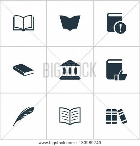 Vector Illustration Set Of Simple Knowledge Icons. Elements Blank Notebook, Plume, Library And Other Synonyms Plume, Library And Textbook.