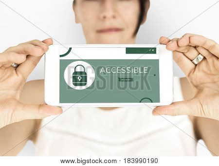 Illustration of computer security system on mobile phone