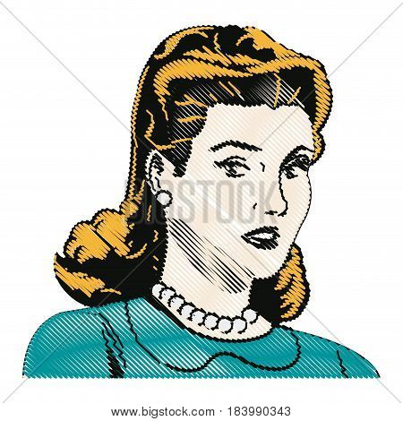 drawing blonde woman pop art angry expression vector illustration
