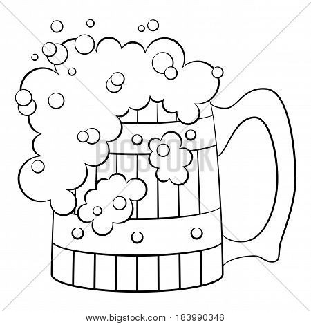 Big Beer Mug with Alcohol Drink and Foam, Cartoon Element for Your Design, Black Contour Isolated on White Background. Vector