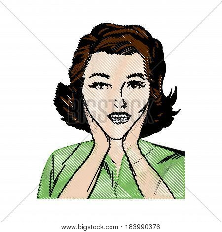 drawing woman pop art surprised expression vector illustration