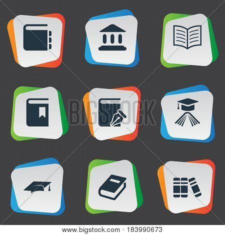 Vector Illustration Set Of Simple Education Icons. Elements Library, Graduation Hat, Academic Cap And Other Synonyms Building, Write And Academic.