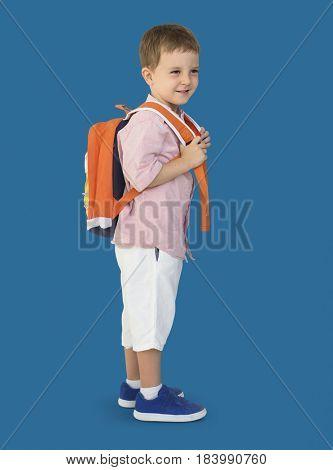 Caucasian Little Boy Smile Backpack