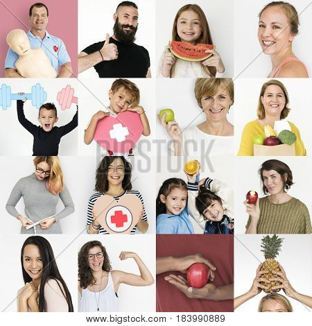 Collection of people with healthy living and eating
