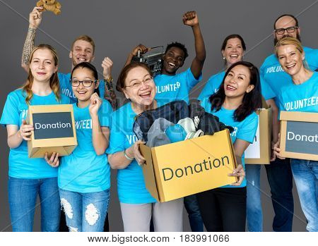 Group of Diverse People as Donation Community Service Volunteer