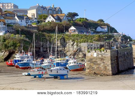 Newquay, Cornwall, Uk - April 1 2017: Colourful Fishing And Sailing Boats On The Sand In Newquay Har