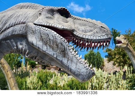Algar Spain - April 8 2017: Realistic model of a Tyrannosaurus Rex in the Dino Park Algar. It is a unique entertainment and educational park. Spain