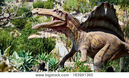 Algar Spain - April 8 2017: Realistic model of a Spinosaurus in the Dino Park of Algar. It is a unique entertainment and educational park. Spain
