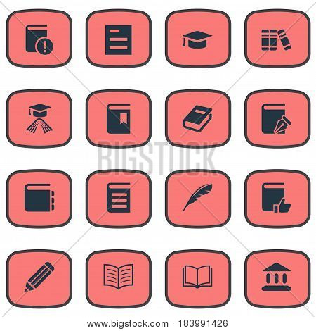 Vector Illustration Set Of Simple Reading Icons. Elements Academic Cap, Recommended Reading, Bookshelf And Other Synonyms Writing, Reading And Hat.
