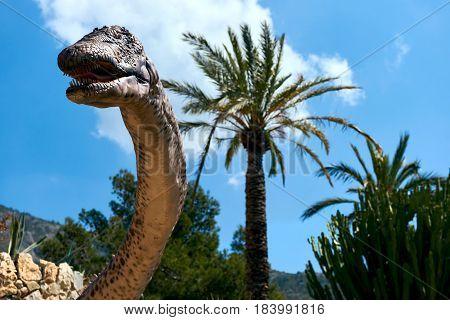 Algar Spain - April 8 2017: Realistic model of a Amphicoelias dinosaur in the Dino Park of Algar. It is a unique entertainment and educational park. Spain