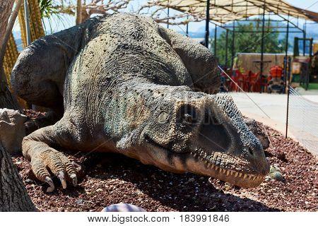 Algar Spain - April 8 2017: Realistic model of a dinosaur in the Dino Park of Algar. It is a unique entertainment and educational park. Spain