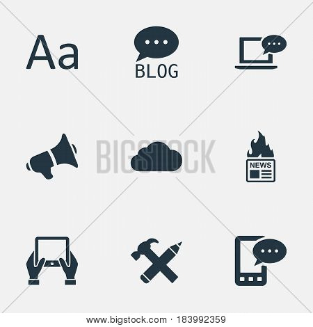Vector Illustration Set Of Simple Newspaper Icons. Elements Site, Gazette, Loudspeaker And Other Synonyms Hot, E-Letter And Gazette.
