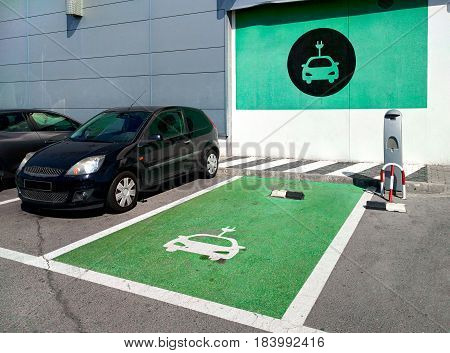 Torrevieja, Spain - March 11, 2017: Electric vehicle charging station in Torrevieja city. Costa Blanca. Spain