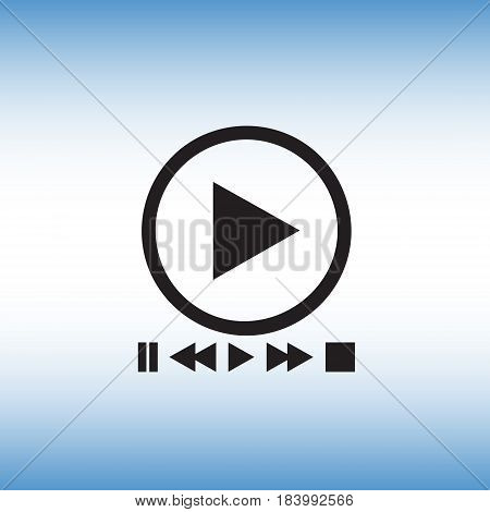 Play isolated vector sign. Flat play menu vector icon. Player settings menu vector illustration.