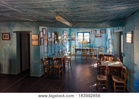 THESSALY, GREECE - OCTOBER 14, 2016: Interior of an old traditional coffee bar on October 14, 2016 in Lavkos village of Mt Pelion in Thessaly, Greece